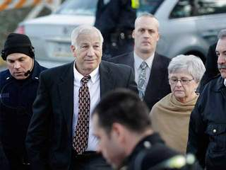 Jerry Sandusky arrives for hearing