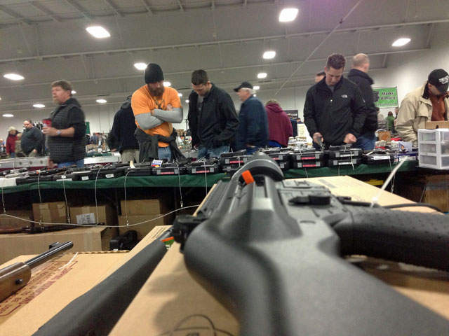 People lined up hours early to attend the KC Gun Show at the KCI Expocenter