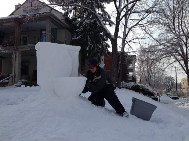 KSHB: Giant snow toilet