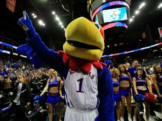 getty: kansas jayhawks mascot cheerleaders sprint center big 12 tournament 2013