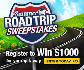 Summer Road Trip Sweepstakes! Enter here!