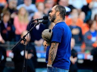 World Series national anthem singer mixes words