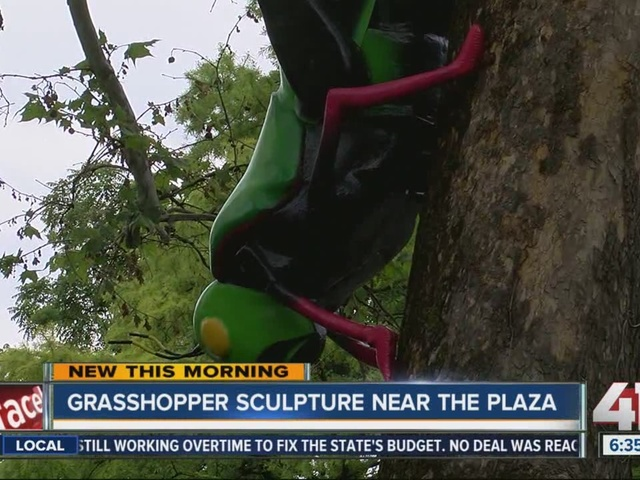 Giant grasshopper sculpture turning heads on Ward Parkway
