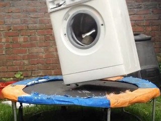 Washing machine + trampoline = one crazy video