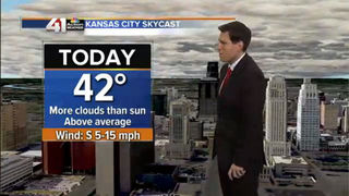 Cloudy sky with flurries to the North of KC