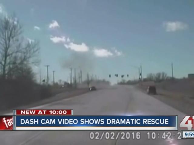 Dash cam video shows dramatic rescue