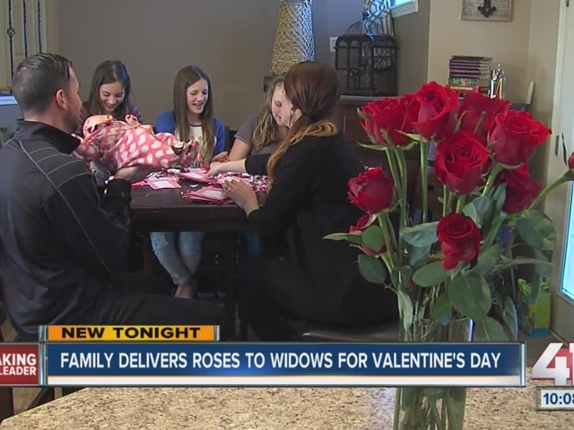 Family delivers roses to widows for Valentine's Day