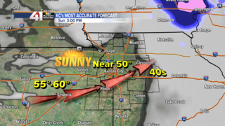 Near 50° and sunny this afternoon