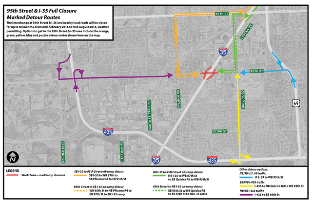 95th Street and I-35 construction detour map