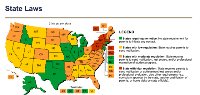 Map of state laws for homeschooling