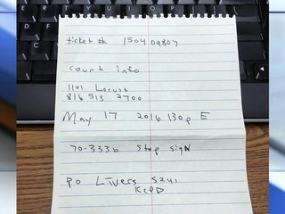 VIDEO: KCPD issues handwritten traffic citation