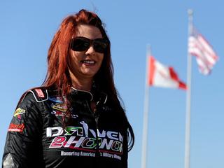 NASCAR driver Jennifer Jo Cobb races at home