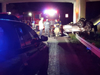 Driver in hospital after car hits guardrail