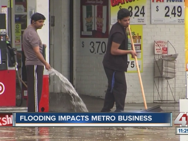 Flooding impacts local gas station