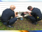 Local police rescue dog from dryer vent hole