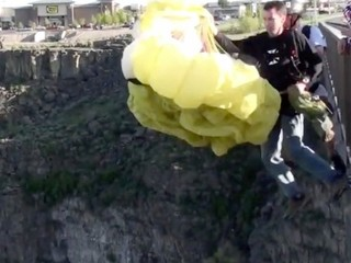 Two parachute pilots completed a difficult jump