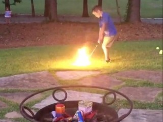 VIDEO: 7-year-old's flaming trick shot