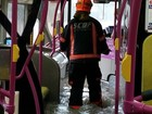 Bus passengers stranded in flood waters