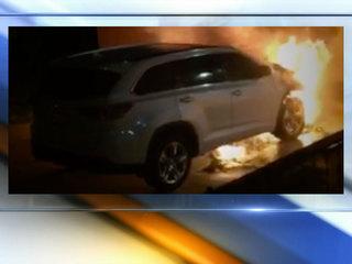 Video catches man lighting SUV on fire