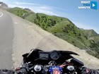 Motorcycle almost makes a cliff dive