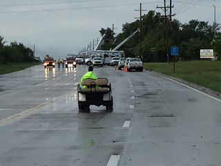 Power lines down in Olathe cause road closure