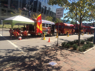 KC Chiefs fans tailgate in the P&L District