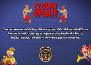 KCK Police investigating reported clown sighting