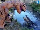 VIDEO: Alligator gets a 'T-Rex' surprise