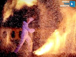 VIDEO: Fire performer takes it to a new level