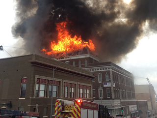 Downtown St. Joseph Pioneer Building up flames