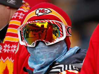 Staying warm at the Chiefs game