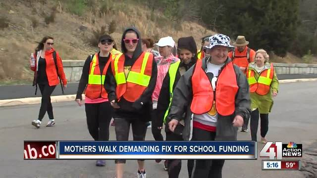 Group walks to Topeka to rally for school funding