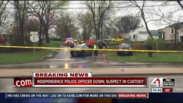 Independence officer in critical condition after shooting; 2 in custody
