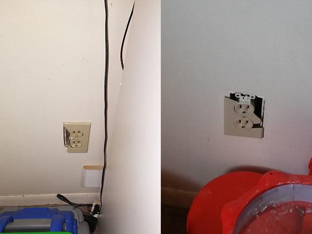 Photos of broken outlets