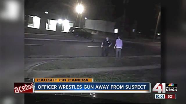 Dashcam video shows Overland Park Police sergeant wrestle with gunman
