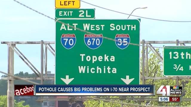 Large pothole on I-70 leads to flat tires