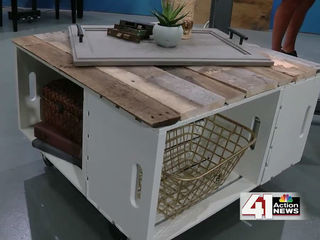 How to make a storage ottoman from wooden crates