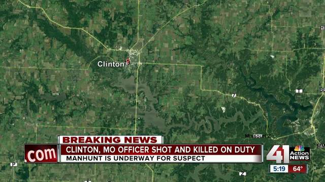 Manhunt underway after officer shot, killed in Clinton, MO