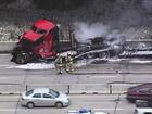 1 hurt in fiery semi wreck on I-435 WB in OP