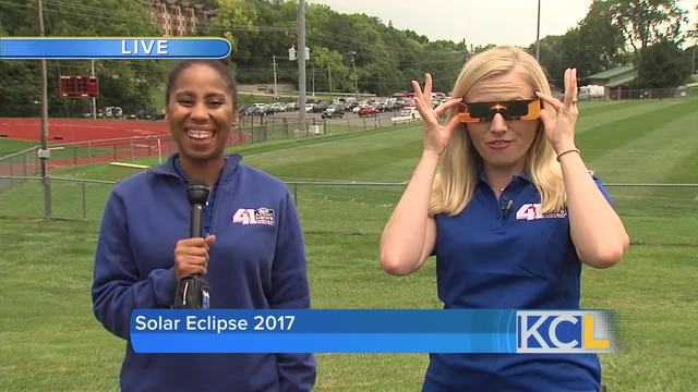 Crowds gather to watch the eclipse across the KC