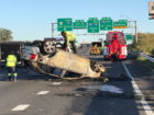 Car goes through highway guardrail, driver lives