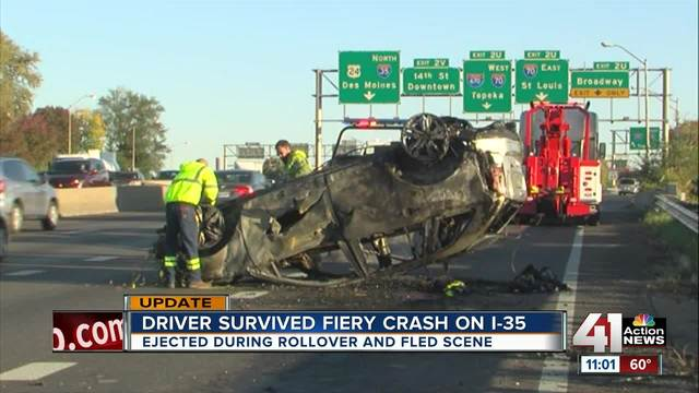 Car goes through I-35 guardrail- off highway