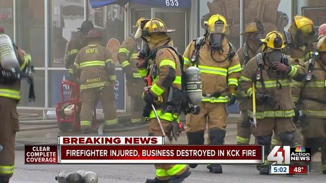 Firefighter injured, business destroyed in 3 alarm fire - KSHB.com 41 Action News