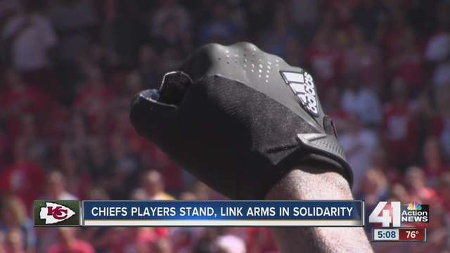 Chiefs Marcus Peters Raises Fist During National Anthem