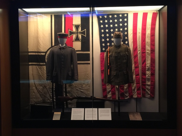 An American and a German uniform from World War I