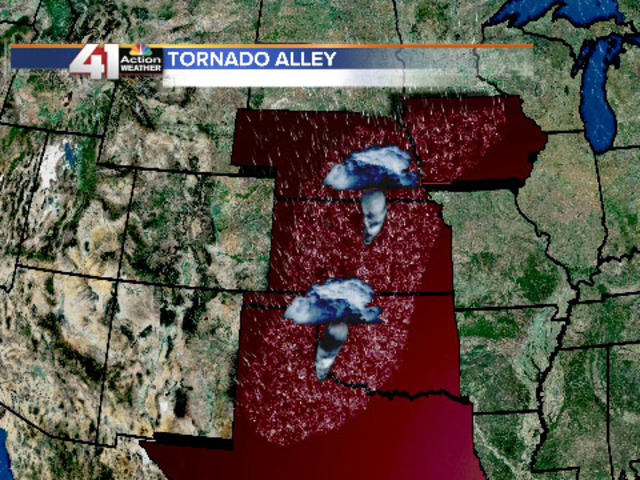 Photo of states in tornado alley