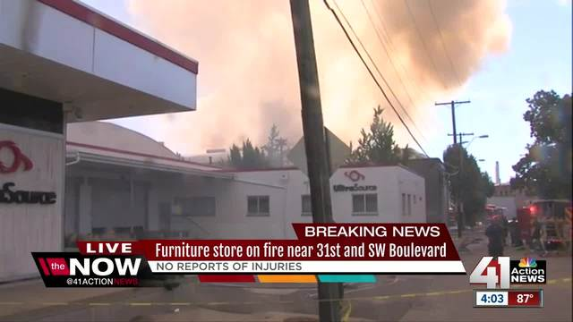 A Three Alarm Fire Has Engulfed A Furniture Warehouse On Southwest  Boulevard Near Downtown KC. Crews Expect To Be On The Scene For Several  Hours, ...