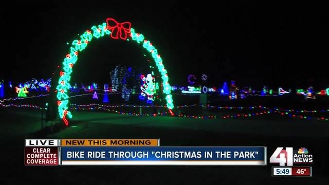 bike ride kicks off annual christmas in the park display