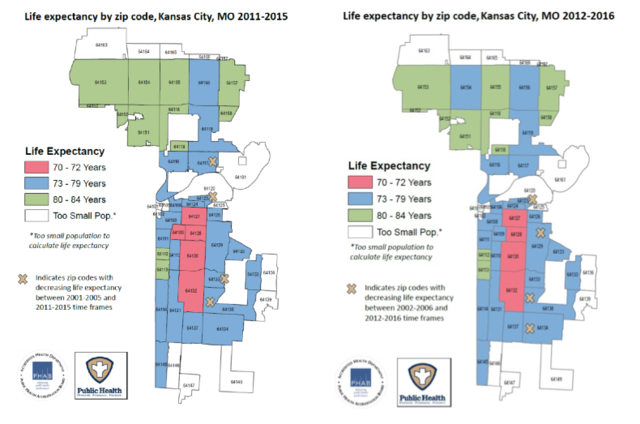 Zip Code Map Kansas City KCMO zip codes could determine how long you live