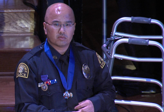 Officer Tom Wagstaff Speaks At Ceremony In His Honor
